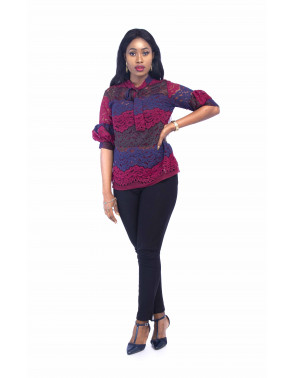 Ladies Lace Blouse With Tie Knot Detail