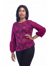 Ladies Lacey Blouse With Lantern Sleeve