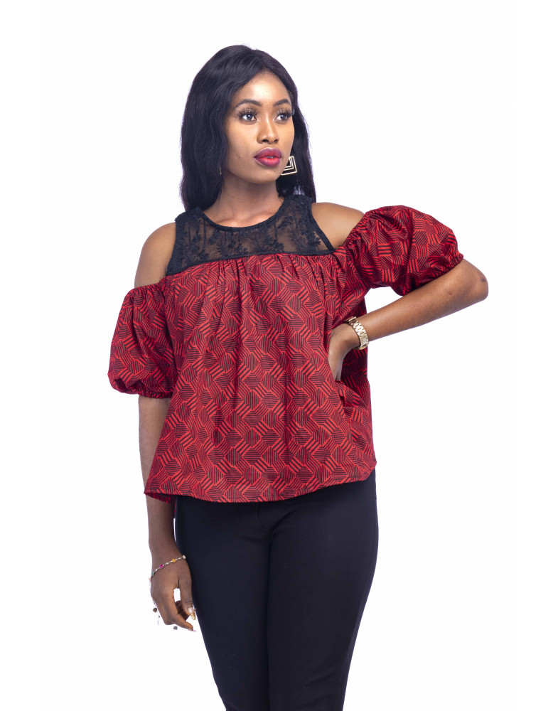 Ankara Blouse With Organza Mix