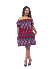 Off Shoulder Ankara Stoned Dress