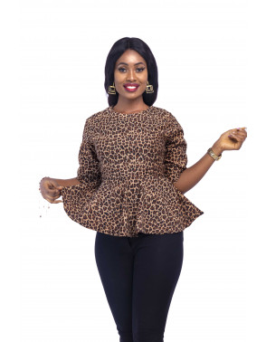 Leopard Print Peplum Blouse Quarter Sleeves