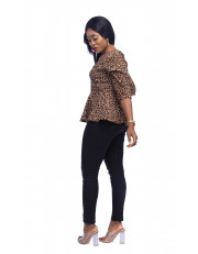 Leopard Print Peplum Blouse Quarter Sleeves