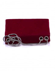 Red Mini Velvet Bag With Brooch