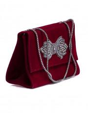Red Mini Velvet Bag With Brooch
