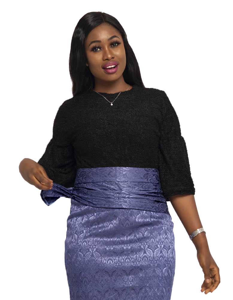 Ladies Fur Blouse With Pleated Sleeve
