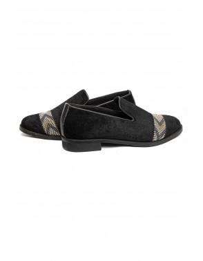 Velvet Loafers With Shiny Stud Belt