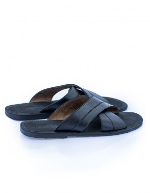 Cross Leather Slippers